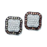 10kt White Gold Womens Round Cognac-brown Color Enhanced Diamond Square Frame Cluster Earrings 1.00 Cttw