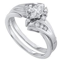 10kt White Gold Womens Marquise Diamond Bridal Wedding Engagement Ring Band Set 1/4 Cttw