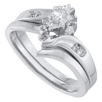 10kt White Gold Womens Marquise Diamond Bridal Wedding Engagement Ring Band Set 1/6 Cttw
