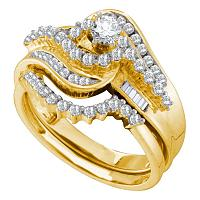 10kt Yellow Gold Womens Round Diamond Bridal Wedding Engagement Ring Band Set 1.00 Cttw