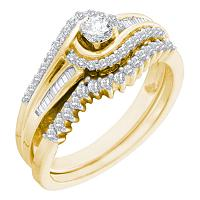 10kt Yellow Gold Womens Round Diamond Swirl Bridal Wedding Engagement Ring Band Set 1/2 Cttw