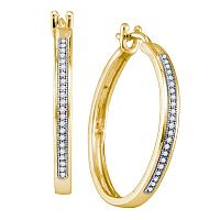 10kt Yellow Gold Womens Round Diamond Large Single Row Hoop Earrings 1/6 Cttw
