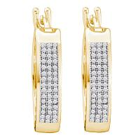 10kt Yellow Gold Womens Round Diamond Triple Row Hoop Earrings 1/4 Cttw