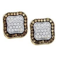 10kt Yellow Gold Womens Round Cognac-brown Color Enhanced Diamond Square Frame Cluster Earrings 1.00 Cttw