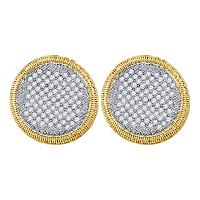 10kt Yellow Gold Womens Round Pave-set Diamond Circle Cluster Stud Earrings 1.00 Cttw