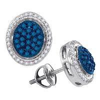 10kt White Gold Womens Round Blue Color Enhanced Diamond Oval Frame Cluster Earrings 3/8 Cttw