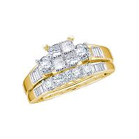 10kt Yellow Gold Womens Princess Diamond Bridal Wedding Engagement Ring Band Set 1.00 Cttw Size 8