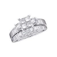 10kt White Gold Womens Princess Diamond Bridal Wedding Engagement Ring Band Set 1.00 Cttw - Size 5