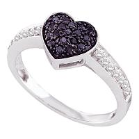 10kt White Gold Womens Round Black Color Enhanced Diamond Heart Cluster Ring 1/3 Cttw
