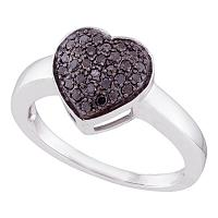 10kt White Gold Womens Round Black Color Enhanced Diamond Heart Cluster Ring 1/4 Cttw