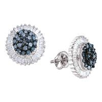 10kt White Gold Womens Round Blue Color Enhanced Diamond Cluster Earrings 1.00 Cttw