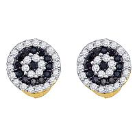 10k Yellow Gold Black Color Enhanced Round Diamond Concentric Womens Screwback Stud Earrings 1/4 Cttw