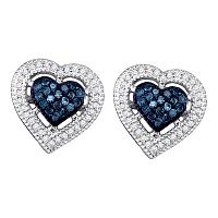 10kt White Gold Womens Round Blue Color Enhanced Diamond Heart Love Screwback Earrings 3/8 Cttw