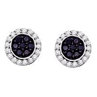 10kt White Gold Womens Round Black Color Enhanced Diamond Circle Frame Cluster Earrings 1.00 Cttw