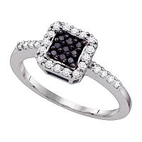 10k White Gold Black Color Enhanced Diamond Halo Womens Square-shape Cluster Ring 1/3 Cttw