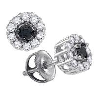 10kt White Gold Womens Round Black Color Enhanced Diamond Solitaire Stud Earrings 1/2 Cttw