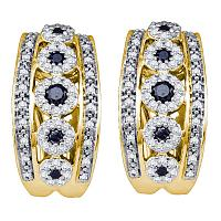 10k Yellow Gold Black Color Enhanced Diamond Womens Womens Cocktail Omega-back Luxury Hoop Earrings 3/4 Cttw