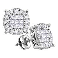14kt White Gold Womens Princess Diamond Soleil Cluster Earrings 1.00 Cttw