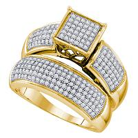 10kt Yellow Gold Womens Diamond Cluster Bridal Wedding Engagement Ring Band Set 5/8 Cttw