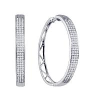 10k White Gold Round Diamond Womens Large Hoop Earrings 3/4 Cttw