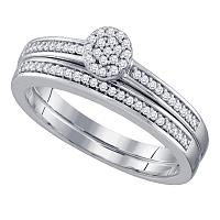 10kt White Gold Womens Round Diamond Cluster Bridal Wedding Engagement Ring Band Set 1/5 Cttw