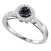 10k White Gold Black Color Enhanced Diamond Flower Cluster Halo Womens Bridal Wedding Engagement Ring 1/5 Cttw