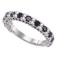 10kt White Gold Womens Round Black Color Enhanced Diamond Wedding Band Ring 1.00 Cttw