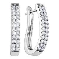 14k White Gold Round Pave-set Diamond 2-row Womens Oblong Hoop Earrings 1.00 Cttw