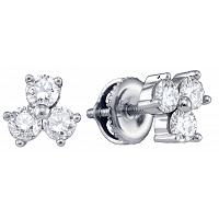 14kt White Gold Womens Round Diamond Stud Earrings 3/4 Cttw