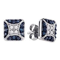 10kt White Gold Womens Round Blue Color Enhanced Diamond Square Cluster Earrings 1/2 Cttw