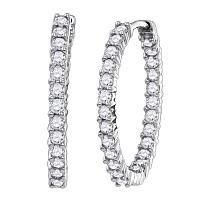 14kt White Gold Womens Round Diamond Inside Outside Hoop Earrings 3.00 Cttw