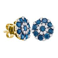 10kt Yellow Gold Womens Round Blue Color Enhanced Diamond Flower Cluster Screwback Earrings 1-1/2 Cttw