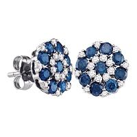 10kt White Gold Womens Round Blue Color Enhanced Diamond Flower Cluster Screwback Earrings 1-1/2 Cttw