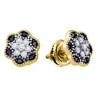 10k Yellow Gold Black Color Enhanced Diamond Womens Flower Cluster Stud Earrings 1/3 Cttw