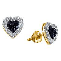 14kt Yellow Gold Womens Round Black Color Enhanced Diamond Heart Love Earrings 1/3 Cttw