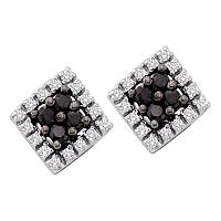 14kt White Gold Womens Round Black Color Enhanced Diamond Square Cluster Earrings 1/4 Cttw