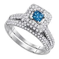 14kt White Gold Womens Princess Blue Color Enhanced Diamond Bridal Wedding Engagement Ring Band Set 1-1/4 Cttw