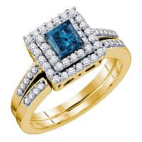 14kt Yellow Gold Womens Princess Blue Color Enhanced Diamond Square Halo Bridal Wedding Engagement Ring Band Set 7/8 Cttw