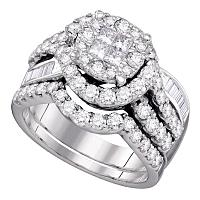 14kt White Gold Womens Princess Round Diamond Soleil Bridal Wedding Engagement Ring Band Set 1-3/4 Cttw