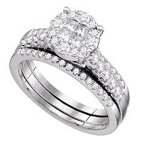 14kt White Gold Womens Princess Diamond Soleil Bridal Wedding Engagement Ring Band Set 1.00 Cttw