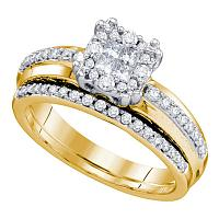 14kt Yellow Gold Womens Princess Round Diamond Soleil Bridal Wedding Engagement Ring Band Set 1/2 Cttw