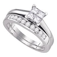 14kt White Gold Womens Princess Diamond Bridal Wedding Engagement Ring Band Set 3/4 Cttw