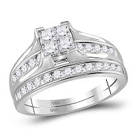 10kt White Gold Womens Princess Diamond Bridal Wedding Engagement Ring Band Set 1.00 Cttw - Size 7