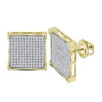 10kt Yellow Gold Womens Round Diamond Square Cluster Earrings 7/8 Cttw