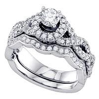 14kt White Gold Womens Round Diamond Twist Bridal Wedding Engagement Ring Band Set 1.00 Cttw