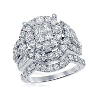 14kt White Gold Womens Princess Round Diamond Soleil Bridal Wedding Engagement Ring Band Set 3.00 Cttw