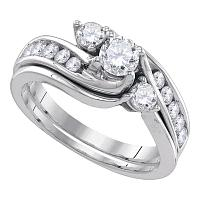 14kt White Gold Womens Diamond 3-stone Bridal Wedding Engagement Ring Band Set 1.00 Cttw