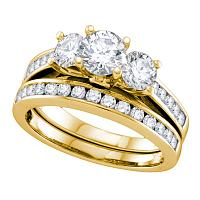 14kt Yellow Gold Womens Round 3-Stone Diamond Bridal Wedding Engagement Ring Band Set 2.00 Cttw