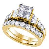 14k Yellow Gold Womens Princess Diamond Invisible-set Wedding Bridal Engagement Ring Set 1 Cttw