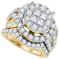 14kt Yellow Gold Womens Princess Round Diamond Soleil Bridal Wedding Engagement Ring Band Set 3.00 Cttw